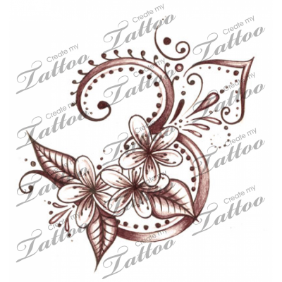 Plumeria Flower tattoo with an ethnic twist | Henna feel | CreateMyTattoo.