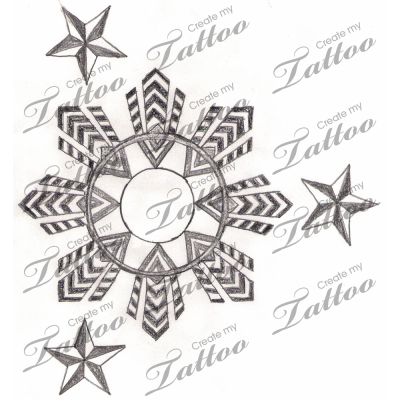 Traditional Filipino Tattoos. Filipino flag 3 stars and .