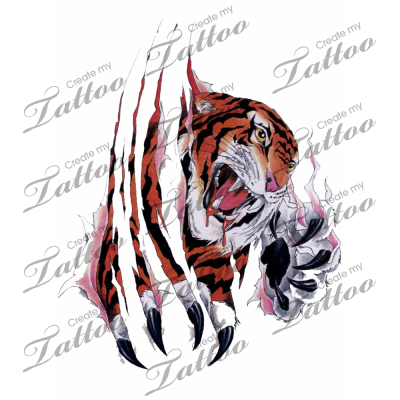 eb24f1fed Tattoo Design Tiger tearing through skin #2741